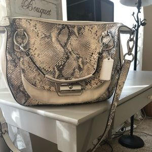 Coach snake skin cream leather purse